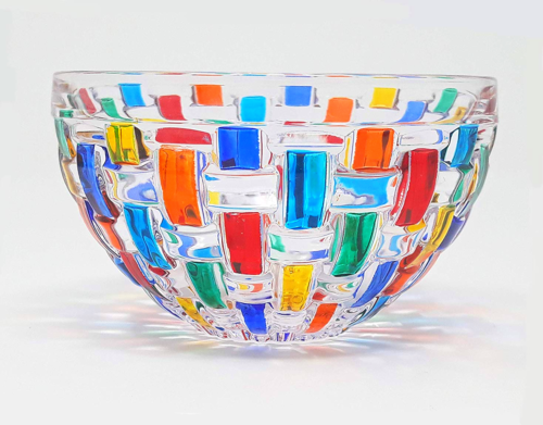 Black Mix Hand Blown Glass Color Pinched Bowl by Rosetree Glass