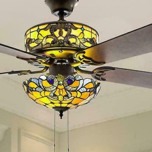 Tiffany Style Stained Glass Yellow Ceiling Fan 52in Wide Pull Chain Buy Products Online With Ubuy Bahrain In Affordable Prices 383278600173