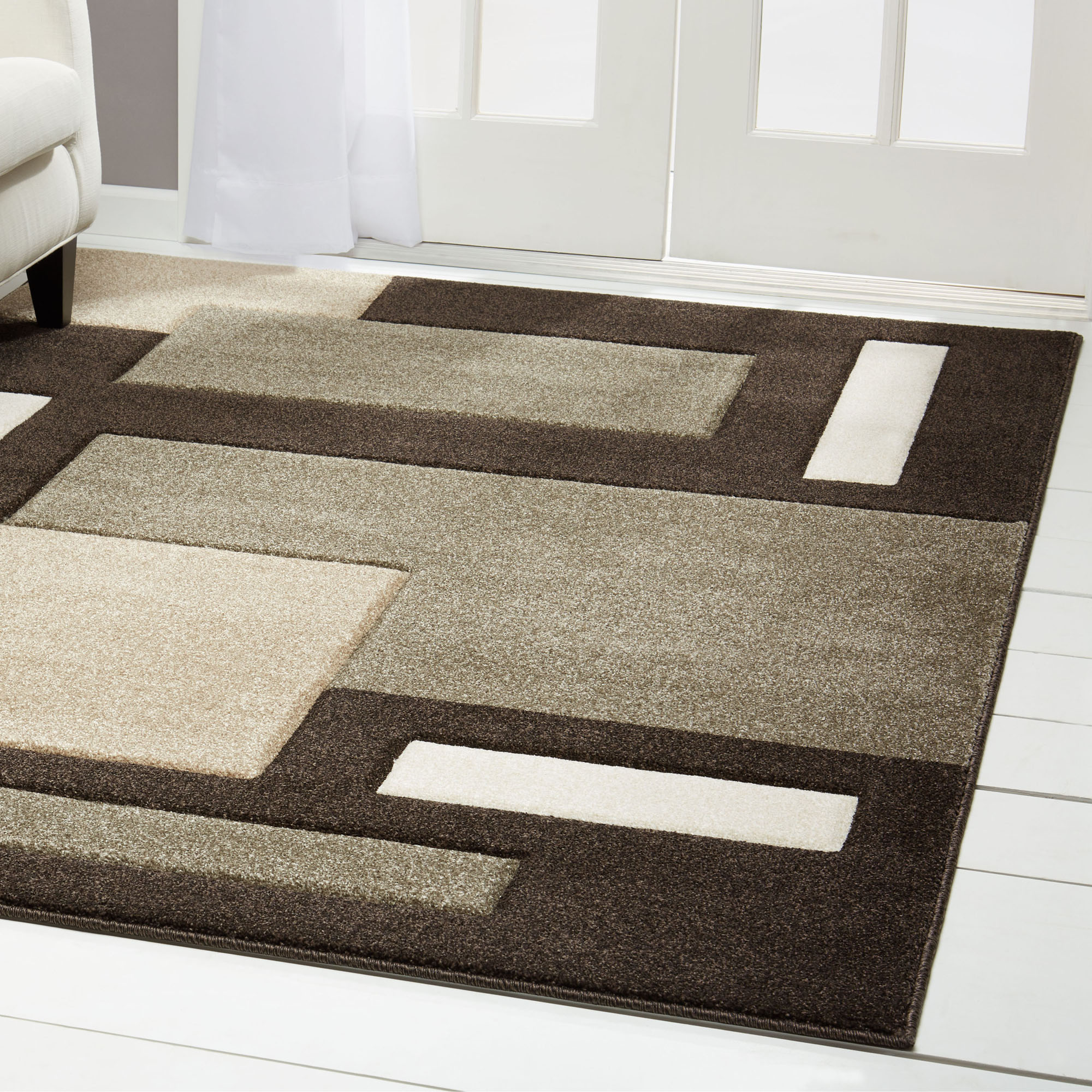 Buy Contemporary Dark Brown Modern Area Rug Hand Carved Squares Abstract Carpet Online In Bahrain 233382007