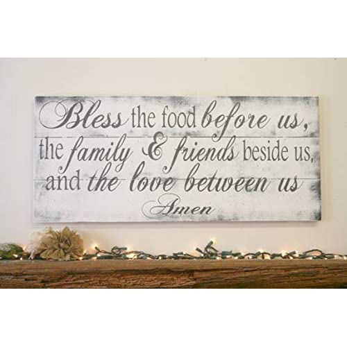Buy Bless The Food Before Us Wood Kitchen Plaque Sign Dining Room Plaque Sign Pallet Wood Plaque Sign Rustic Chic Kitchen Shabby Chic Kitchen Vintage Wood Decor Online In Bahrain B07hbz51sc