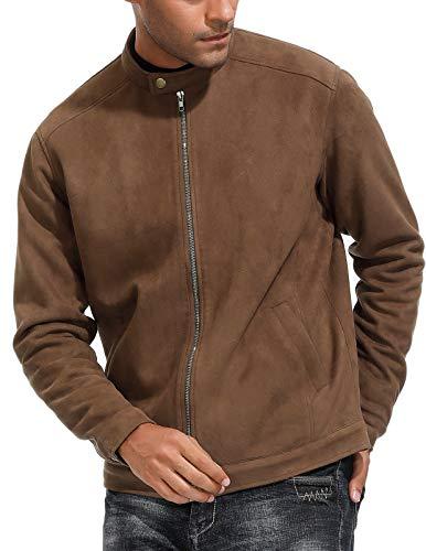 PJ PAUL JONES Mens Stylish Faux Suede Jacket Long Sleeve Mock Neck Zip-up
