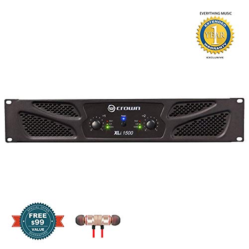 Stereo Bluetooth In-ear and 1 Year Everything Music Extended Warranty Crown Audio XTi 4002 Power Amplifier includes Free Wireless Earbuds