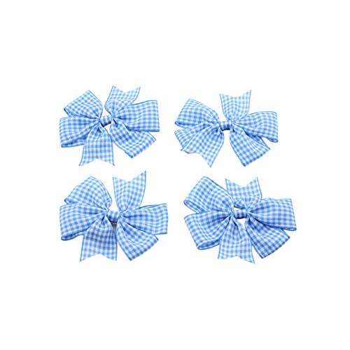 Blue Gingham Check School Hair Bows Clips For back to school BTS Summer Dress