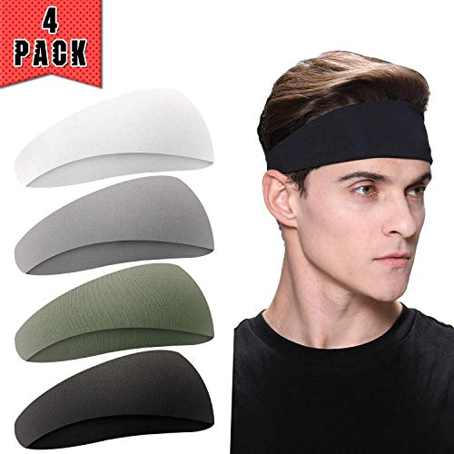 EasYoung Mens Headbands Yoga Crossfit Performance Stretch and Moisture Wicking Cycling 4-Pack Headbands for Men Working Out Gym Exercise Guys Sport Sweatbands for Running