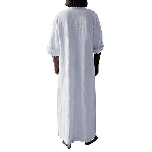 Makkrom Mens Kaftan Robe V Neck Roll Up Long Sleeve Cotton Solid Ultra Long Gown Thobe