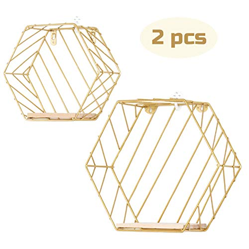 Buy Floating Shelves Wall Mounted Metal Wire Art Hexagon Shelves With Solid Wood Board For Plant Display Storage Rack Organiser Home Decoration Wall Shelf Set Of 2 Gold Stripe Online In