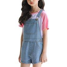 a74ccc5c4 Girls Little Big Kids Distressed BF Jeans Cotton Suspender Denim Bib  Overalls 1P