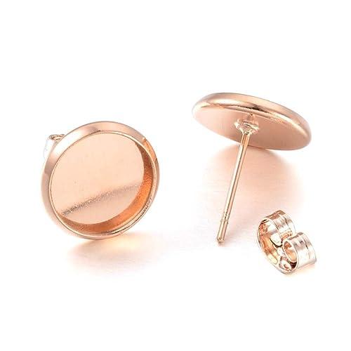 Kissitty 50Pcs Nickel Free Silver Brass Blank Round Bezel Tray Cabochon Setting Clip on Earring Converters 12mm Diameter for Non-Pierced Ears