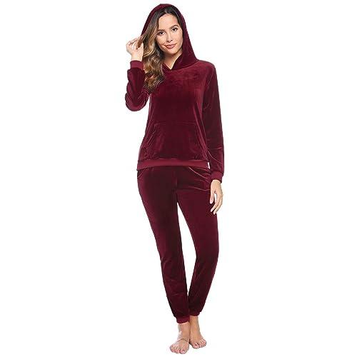 Women/'s 2 Piece Velvet Sweatsuit Sets Zipper Hooded Crop Top Drawstring Shorts Velour Outfits