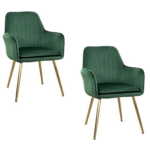 Dmf Furniture Modern Velvet Accent Chair Set Of 2 High Back Elegant Dinning Chairs With Arms In Living Guest Room Green Buy Products Online With Ubuy Bahrain In Affordable Prices B07ywsxjkv