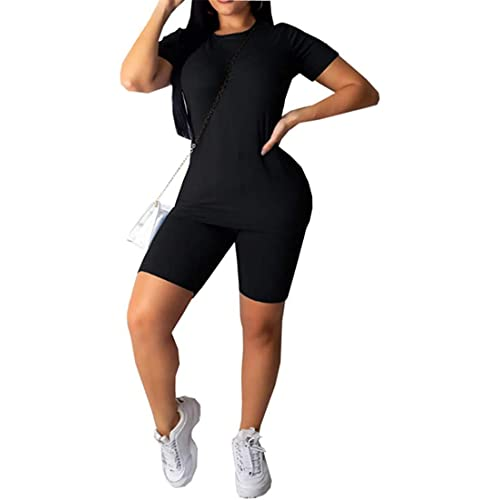 Women s Casual 2 Piece Outfits Solid Crop Top Short Pants Outfit Sports Yoga Suit Tracksuit Jumpsuits
