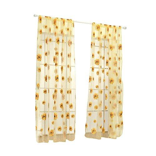 Buy Litymitzromq Beautiful Window Curtains Panels Valance 100x200cm Sheer Sunflower Curtain Panel Home Decor Room Divider Drape Elegance For Living Bedroom Bathroom Online In Bahrain B07tz12kpc