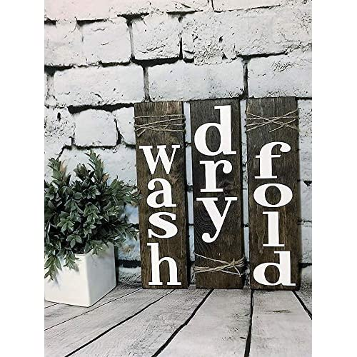 Buy Set Of 3 Wash Dry Fold Laundry Rustic Wall Art Wood Sign For Living Room Bedroom Decoration Online In Bahrain B07mgv747j
