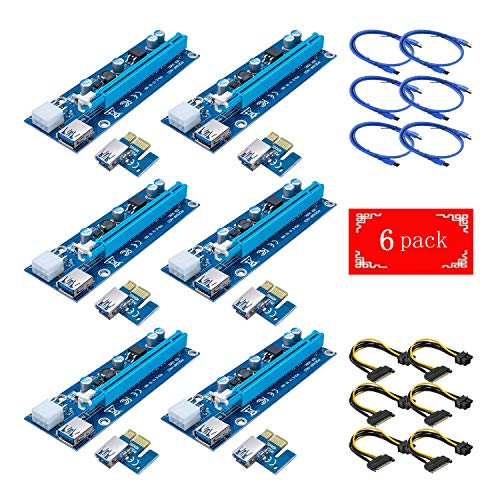 GPU Riser Adapter Yang Xiaoke 6-Pack PCIE Riser VER 007 PCI Riser 6 PIN 1x to x16 Powered Riser Adapter Card w// 60cm USB 3.0 Extension Cable /& PCI-E to SATA Power Cable