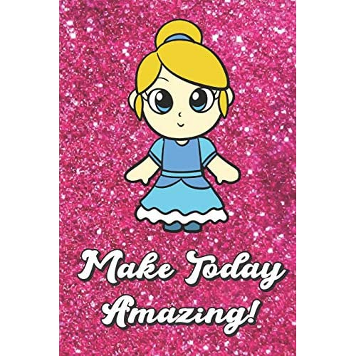 Make Today Amazing Cute And Adorable Princess In A Blue Dress With Pink Glitter Effect Background