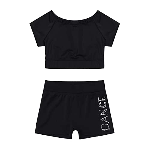 moily Girls Two Piece Athletic Outfit Short Sleeve Top with Booty Shorts for Gymnastics//Dance//Sports