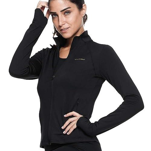 Zeronic Womens Collar Pockets Casual Zip Jacket with Thumb Holes