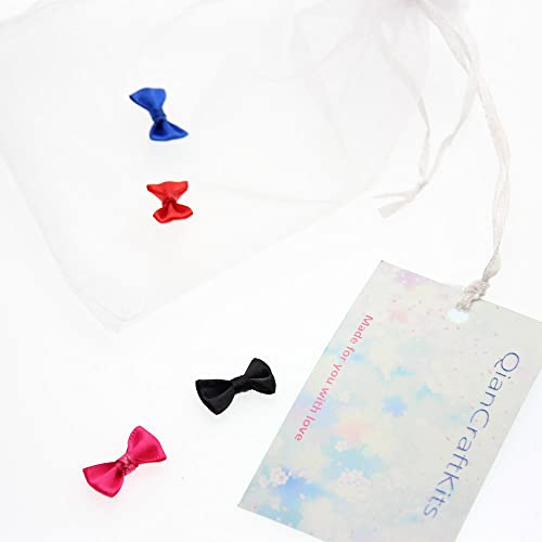 QianCraftKits Mini Fabric Ribbon Bow Tie Craft,100pc Tiny Satin Bows for Christmas Cards,Baby Showers,Scrapbooks,Embellishmen DIY Projects and Hair Accessory Jewellery Making Wedding