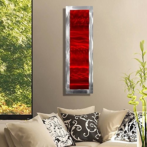 Vivacious Red Silver Jewel Tone Modern Accent With Abstract Wave Etchings Metal Wall Art Contemporary Home Decor Metallic Wall Accent Inner Fire 2 By Jon Allen Buy