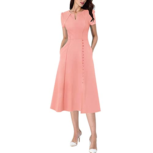 VFSHOW Women Pleated Neck Pockets Buttons Work Office Business A-Line Midi Dress