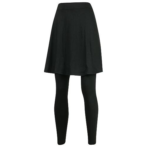 ililily Knee Length Flare Skirt Footless Leggings S-2XL Size Elastic Long Skinny Pants