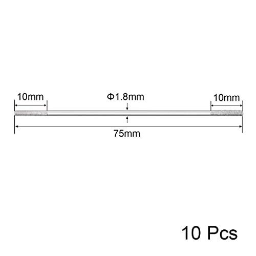 uxcell M2x95mm Pushrod Connector Stainless Steel Rod Linkage,for RC Boat,Car,Airplane,Helicopter,10pcs