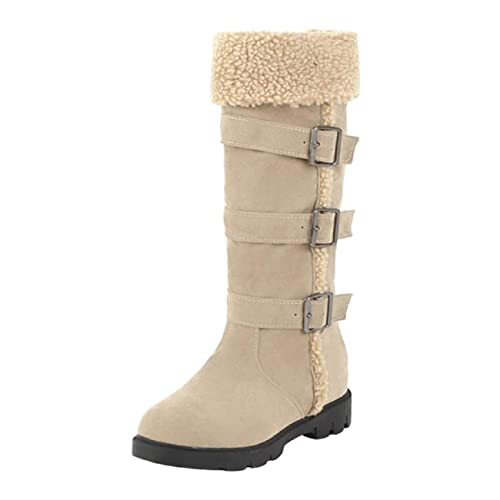 Tsmile Women Multi Buckle Boots Winter Warm Fleece Under Knee High Thicken Thermal Mid Calf Cowgirl Snow Booties Buy Products Online With Ubuy Bahrain In Affordable Prices B081d1cr4z