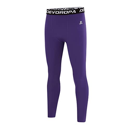 Devoropa Boys Leggings Quick Dry Youth Compression Pants Sports Tights Basketball Base Layer Purple XS