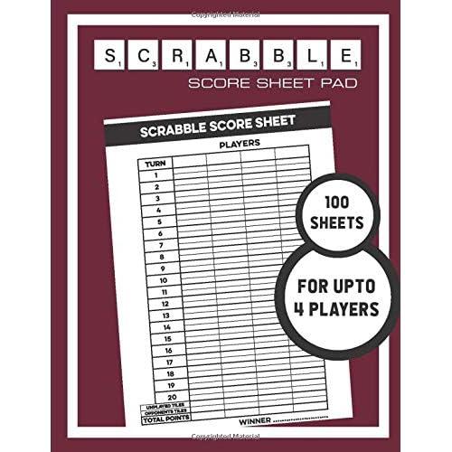 Buy Scrabble Score Sheet Pad 100 Sheets For Upto 4 Players 100 Score Sheets 1 Player Scoreboard Paperback September 29 2019 Online In Bahrain 169638625x
