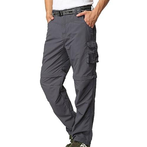 mosingle Mens Hiking Cargo Trousers Convertible Quick Dry Lightweight Zip Off Outdoor Fishing Travel Safari Walking Pants