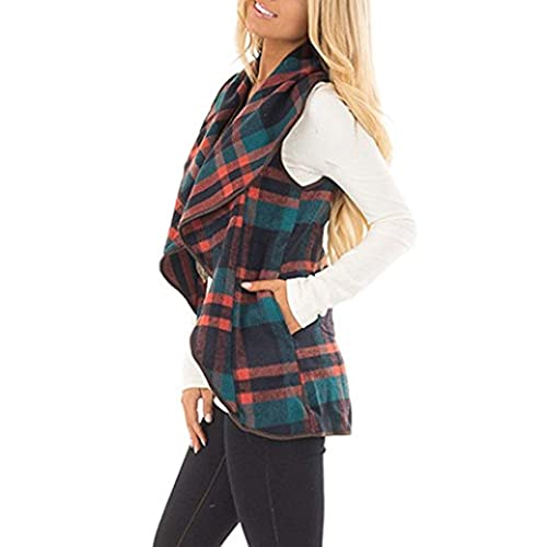 Rvshilfy Womens Color Block Lapel Open Front Sleeveless Plaid Vest Cardigan with Pockets