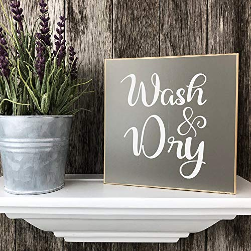 Buy Himanjia Wash Dry Laundry Room Wall Or Shelf Decor Farmhouse Sign Painted Wood Sign Housewarming Gift 5 5 X 5 5 Online In Bahrain B085sy3b4f