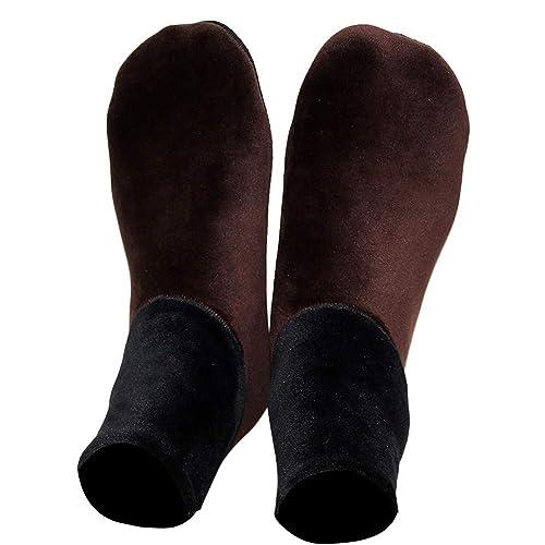 Jinjin Men Adult Floor Socks Anti-Slip Socks Rubber Sole Non-Skid Indoor Floor Slipper Breathable Cotton Outdoor Shoes Socks 23.5 cm//9.3 Black