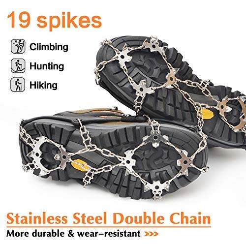 samyki Ice Cleats Crampons Ice Grips Ice Grippers for Women//Men Durable Silicone Spike Shoes Ice/Crampons Snow Grips Quickly and Easily Grips Over Footwear Anti Slip Traction Cleats 8//19 Spikes
