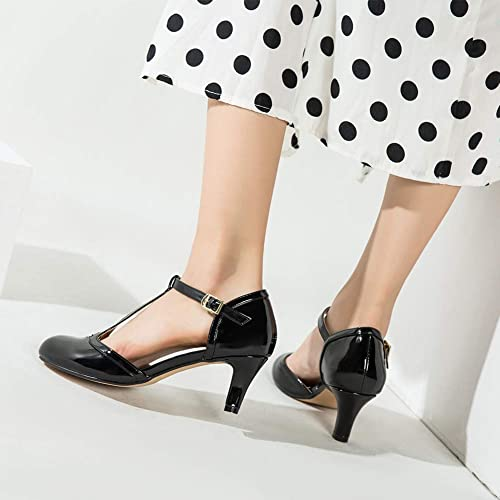 LIURUIJIA Womens Mary Jane Kitten Heels T-Strap DOrsay Pumps Closed Toe Elegant Work Party Dress Shoes Plus Size ZY19-5