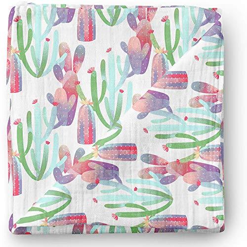 Newborn Wrap Aenne Baby Girl Rose Muslin Swaddle Blanket Floral Orange Pink Tropical Large 47 x 47 inch Toddler Blanket Nursing Cover 1 Pack