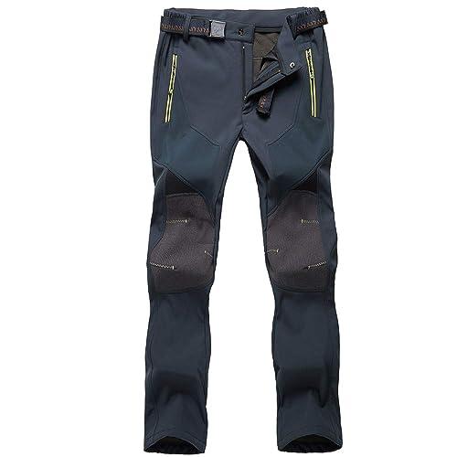 GooDoi Mens Waterproof Fleece Lined Hiking Trousers Winter Warm Walking Climbing Fishing Pants Cargo Trousers