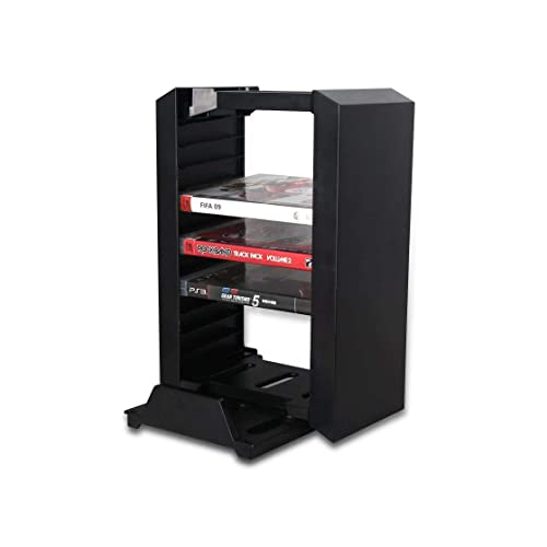 Invero Gaming Storage Tower Stand For Playstation Ps4 Ps4 Slim Ps4 Pro And Xbox One S Includes Vertical Console Stand And 12 Video Games Blu Ray Disc Rack Black Buy