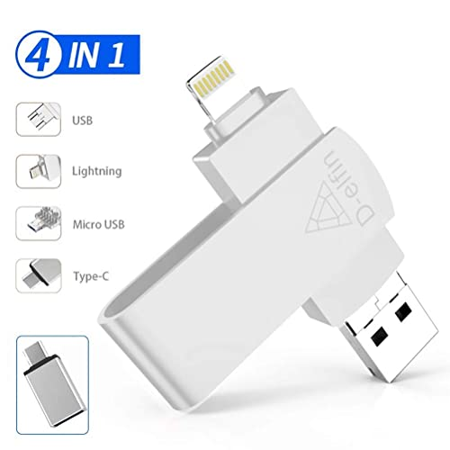 RUICHENXI USB Flash Drive 256GB Memory Stick For iPhone 3-in-1 Pen Drive USB External Storage Memory Expansion Photo Stick for IOS Android Computer 256GB