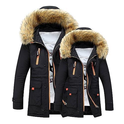 Mens Long Parka,Fashion Light Weight Hooded Down Jacket Long Puffer Jacket Winter Long Coat Zulmaliu