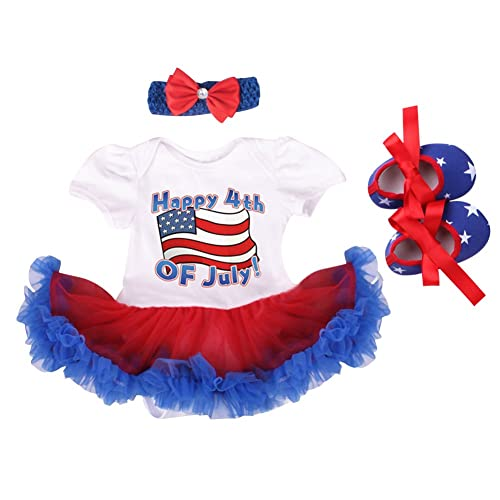 3PCS Baby Girls 4th of July Outfit Set USA Flag with Headband 0-3 Months