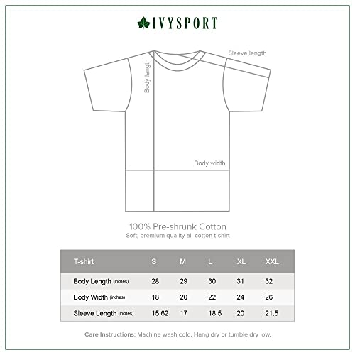 Ivysport Short Sleeve Adult Color T-Shirt with Classic Arch Logo NCAA Colleges and Universities