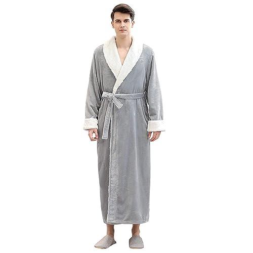 Mens Robe Warm Soft Plush Shawl Collar Kimono Bathrobe Sleepwear Housecoat