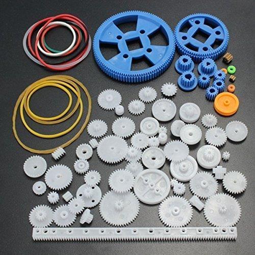 Jffeay 34 Kinds Motor Gear Rack Pulley Belt Single Double Gears Kit Set