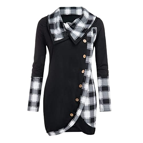 Cowl Neck Sweatshirts for Women Tunic T Shirts Plaid Long Sleeves Button Tops