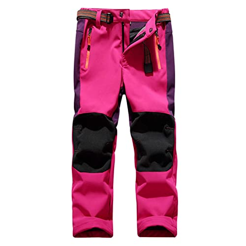 LNJLVI Girls//Boys Outdoor Hiking Soft Shell Windproof Pants Warm Fleece Lined Kid Snow Pants