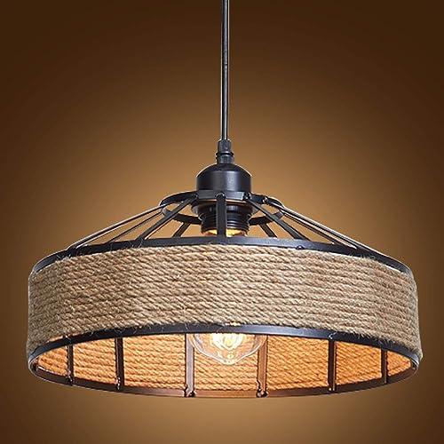 Industrial Metal Shade Hemp Rope Lamp Decorative Island Ceiling Pendant Light UK