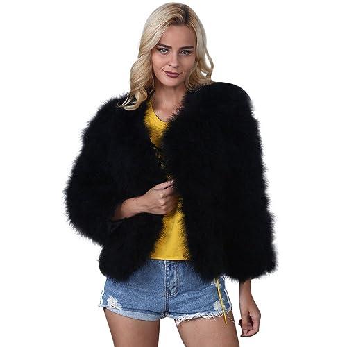 JESPER Women Winter Faux Fur Ostrich Feather Soft Thick Fur Coat Jacket Fluffy Black