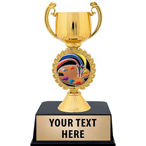 Crown Awards Art Trophies with Custom Engraving 6 Personalized Artist Palette Art Award Trophy On Black Base Prime