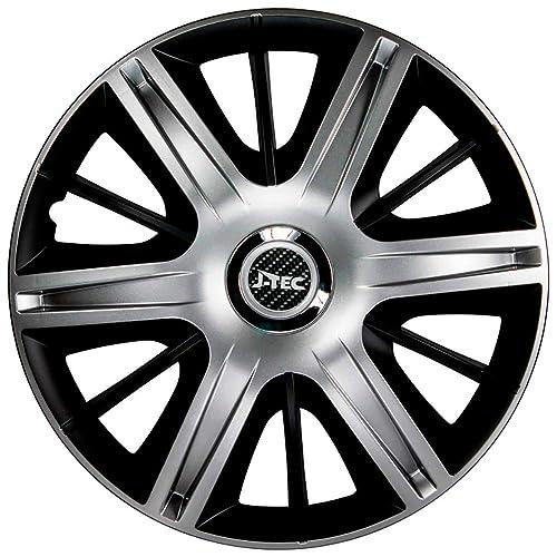 Chrome Ring Gorecki J16527 Set J-Tec Wheel Covers Maximus 16-inch Silver//Black